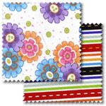 Multicoloured patchwork fabric