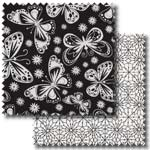 Black, white and grey patchwork fabric