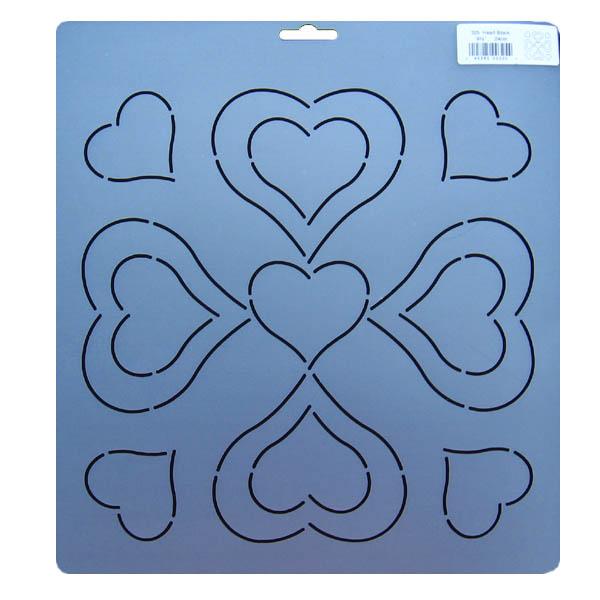 Free Heart Quilting Stencils : 325 Heart block quilting stencil 9.5 inch