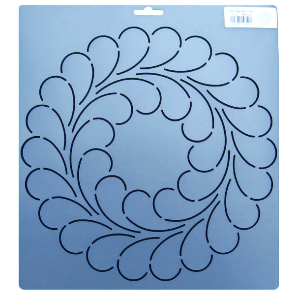 342 10.5 inch diameter feather circle block quilt stencil