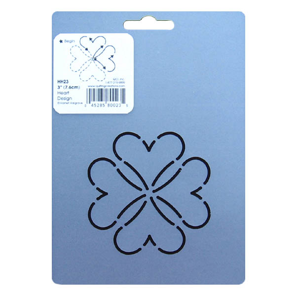 Free Heart Quilting Stencils : HH23 Heart block quilting stencil 3 inch