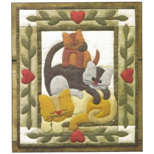 Cat Stack wallhanging quilt kit (13inch x 15inch)