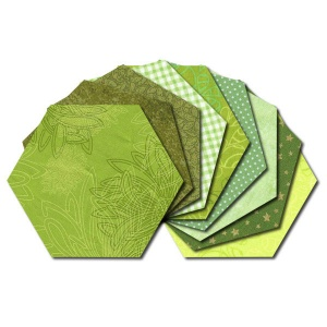 Hexagon fabric charm packs - green prints