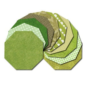 Octagon fabric charm packs - green prints