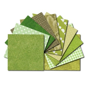 Square fabric charm packs - green prints