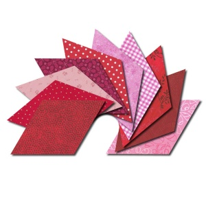 Diamond fabric charm packs - red and pink prints
