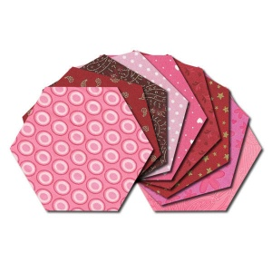Hexagon fabric charm packs - red & pink prints