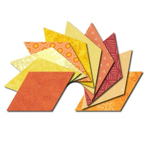 Diamond fabric charm packs - yellow and orange prints