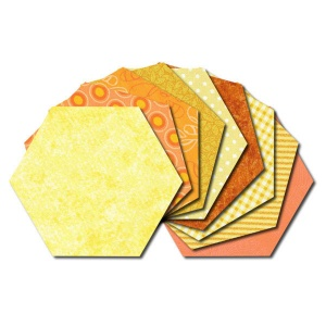 Hexagon fabric charm packs - yellow & orange prints