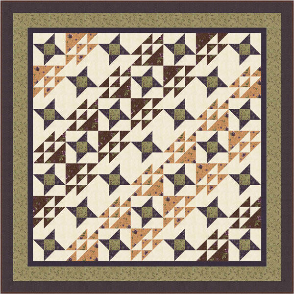 Lady Slipper Lodge double bed quilt free quilt pattern