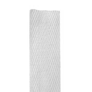 25mm cotton herringbone tape - white (by the metre)