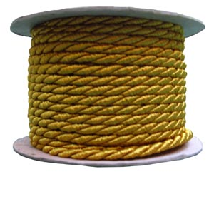 3mm gold twisted cord by the metre
