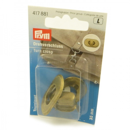 Prym  antique brass turn clasp bag fastener