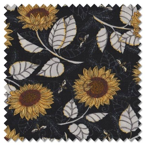 Bee Grateful - sunflower studies ebony (per 1/4 metre)