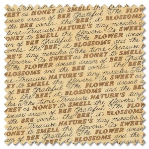Bee Grateful - sweet words honey yellow (per 1/4 metre)