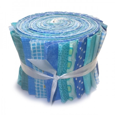 Blue & aqua prints strip roll