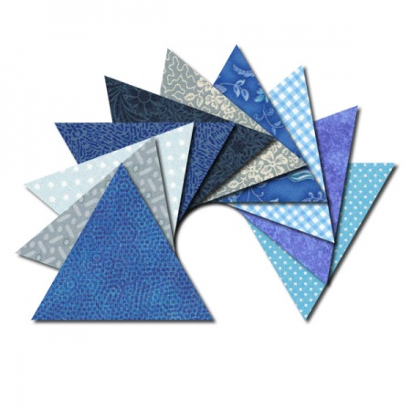 Triangle fabric charm packs - blue & aqua prints