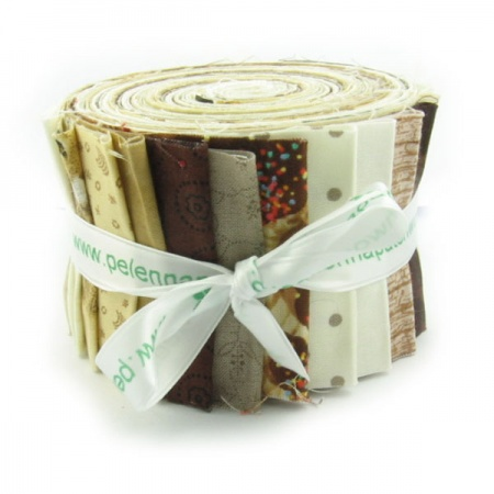Brown and cream prints strip roll