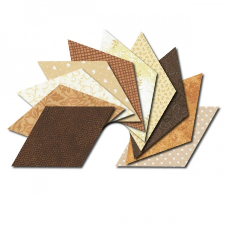 Diamond fabric charm packs - cream and brown prints