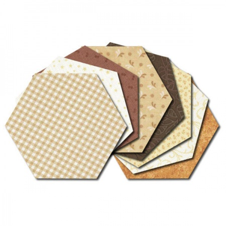 Hexagon fabric charm packs - brown & cream prints
