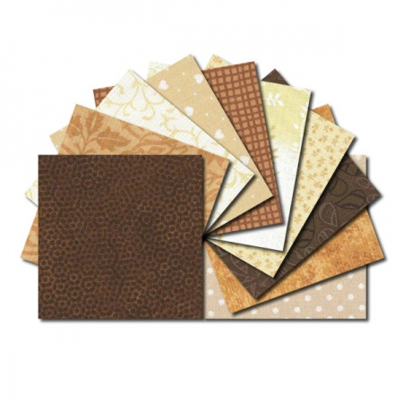 Square fabric charm packs - cream and brown prints