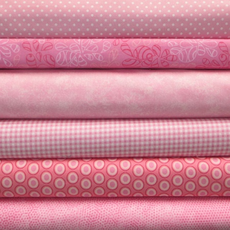 Pink colour coordinates 6 fat quarter pack