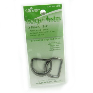 Clover 20mm metal D ring - black nickel