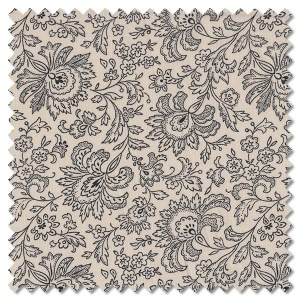 French Chateau & Bee - paisley ebony & ivory (per 1/4 metre)