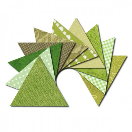Triangle fabric charm packs - green prints