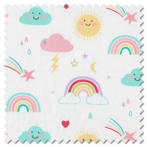 Hello Sunshine - rainbows white (per 1/4 metre)