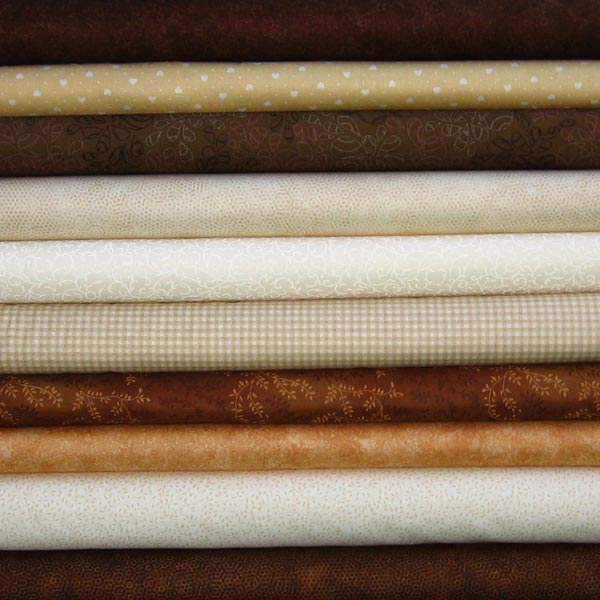 Brown And Cream Patchwork Fabric Squares Stash Pack