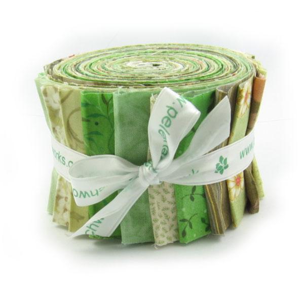 Green Patchwork Fabric Strip Roll