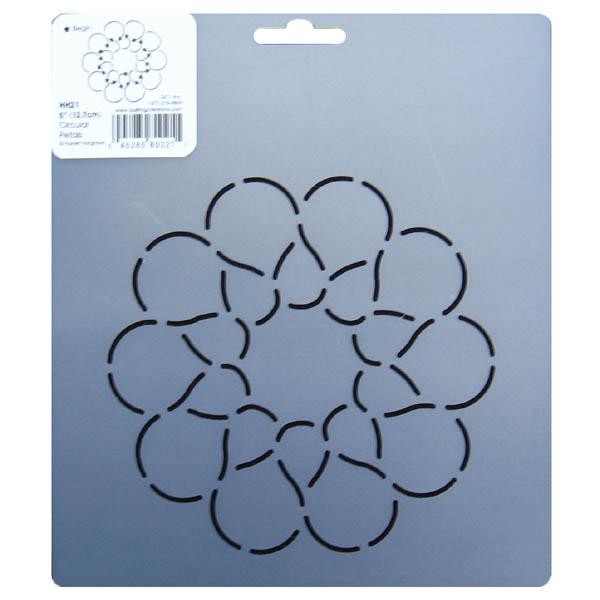 HH21 Circular petals block quilting stencil 5 inch
