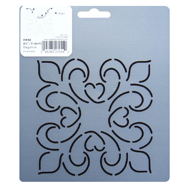 4 5 inch square hw54 elegance block quilting stencil for Quilting templates free online