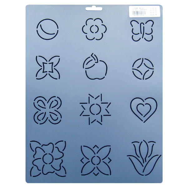 Assorted Block Quilting Stencils In Flowers Hearts And
