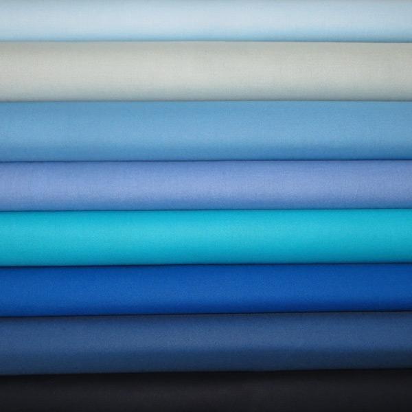 Plain Blue Patchwork Fabric Squares Stash Pack