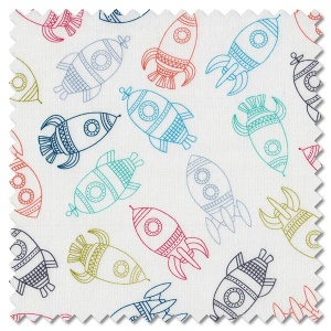 Outer Space - rockets white (per 1/4 metre)