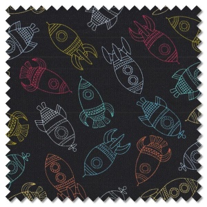 Outer Space - rockets black (per 1/4 metre)