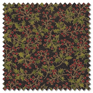 Poinsettias and Pine - holly berries ebony (per 1/4 metre)