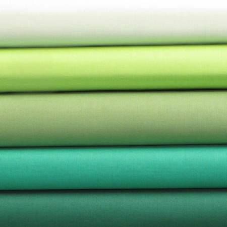 Solids greens 5 fat quarter pack