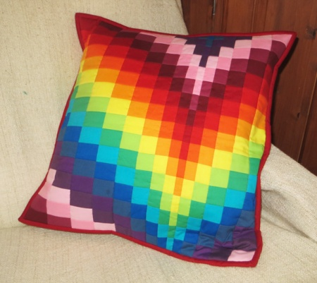 Rainbow bargello cushion cover quilt kit (20 inch x 20 inch)