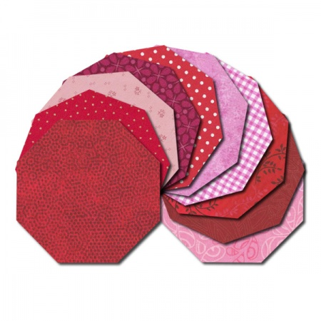 Octagon fabric charm packs - red and pink prints