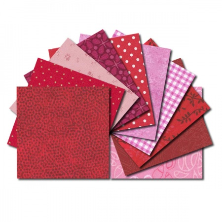 Square fabric charm packs - red and pink prints