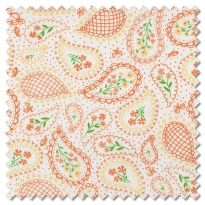 Sunday Picnic - paisley perfection white orange (per 1/4 metre)
