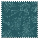 Aviary - birds outlines teal (per 1/4 metre)