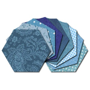 Hexagon fabric charm packs - blue prints