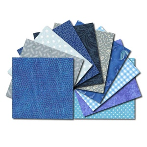 Square fabric charm packs - blue & aqua prints