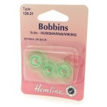 Plastic sewing machine bobbin 3 pack - Husqvarna/Viking blue green