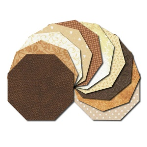 Octagon fabric charm packs - cream and brown prints