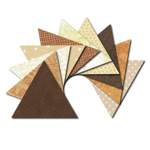 Triangle fabric charm packs - brown & cream prints